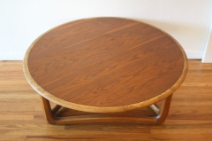 Lane round coffee table sculpted base 3
