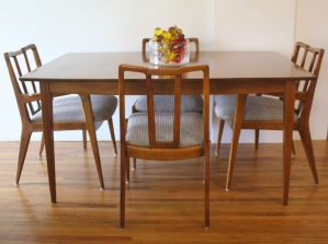 mcm dining table with John Stuart chairs 2
