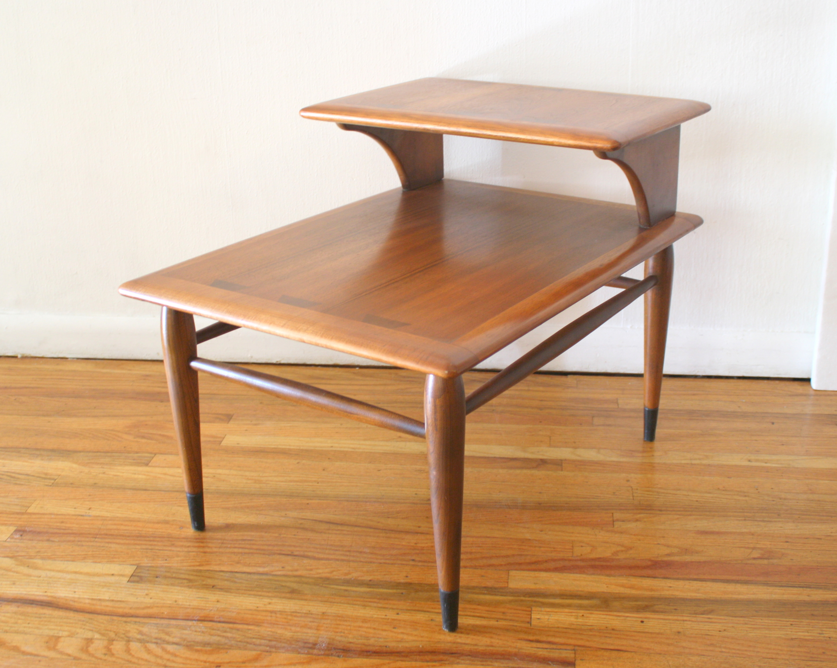 Mid Century Modern 2 Tiered Side End Table Nightstands