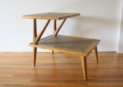 mcm 2 tiered rattan side end table 1