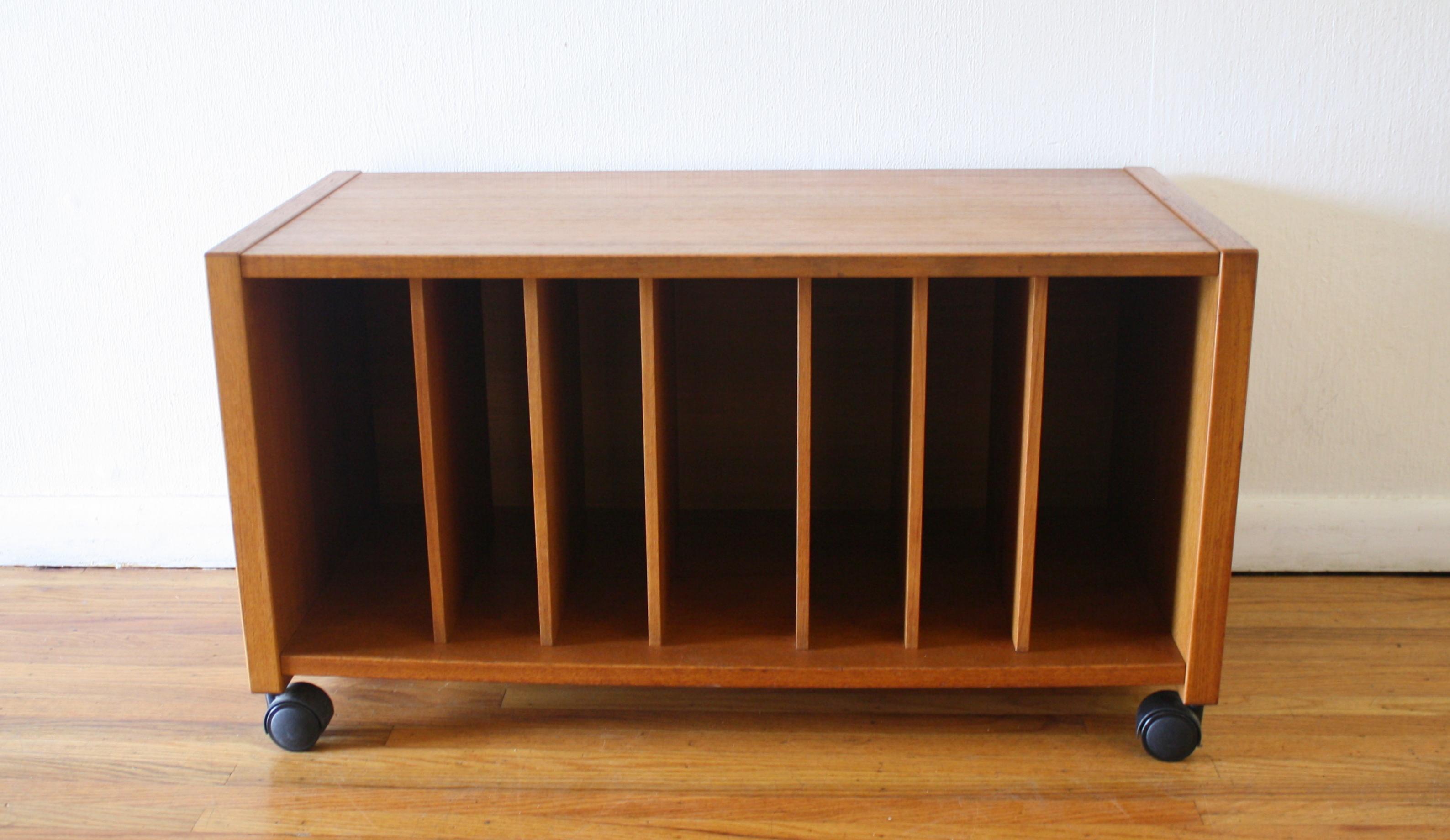 Mid Century Modern Danish Teak Record Holder By Jesper