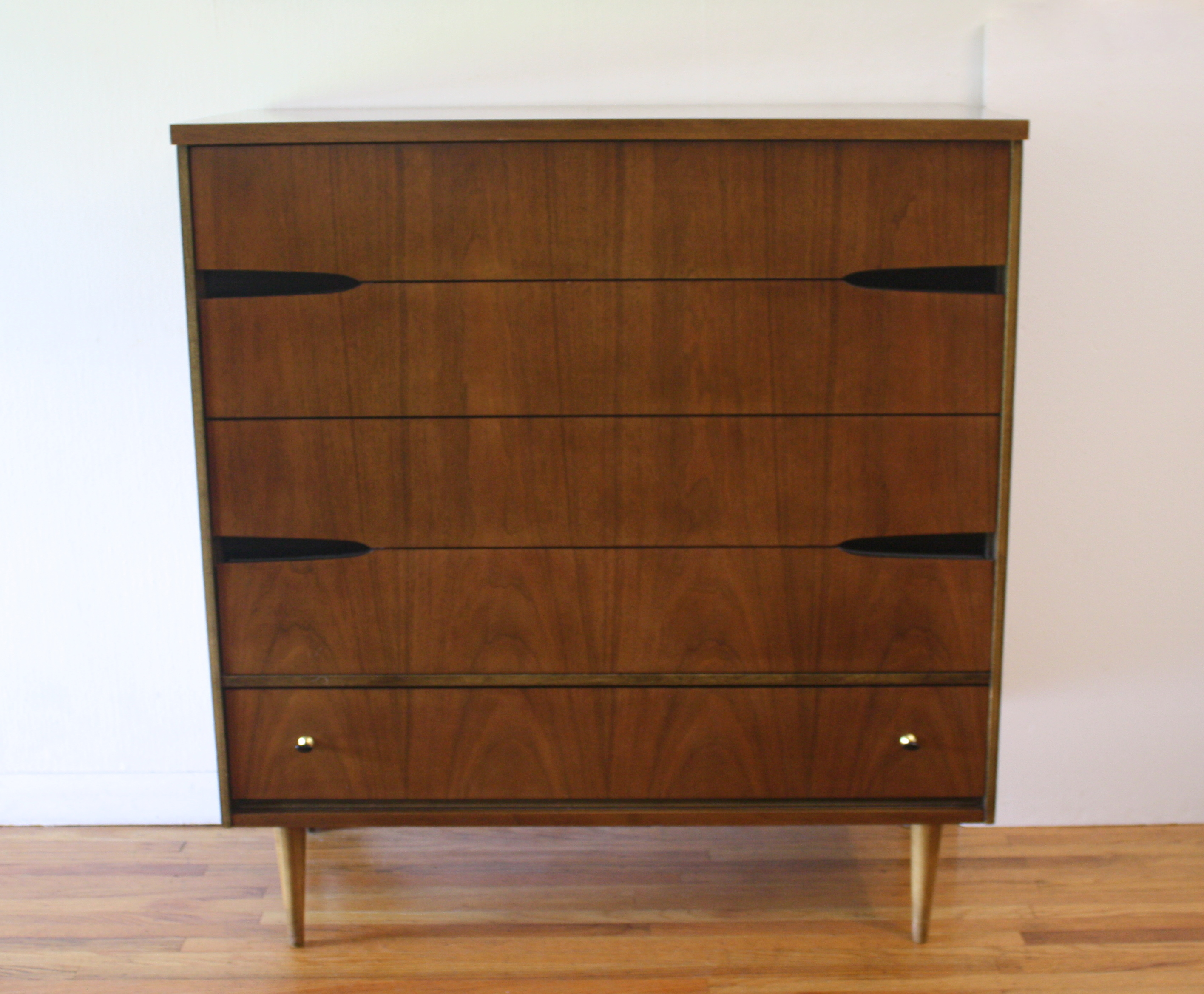 Bassett  tall dresser with black cutout pulls 1.JPG