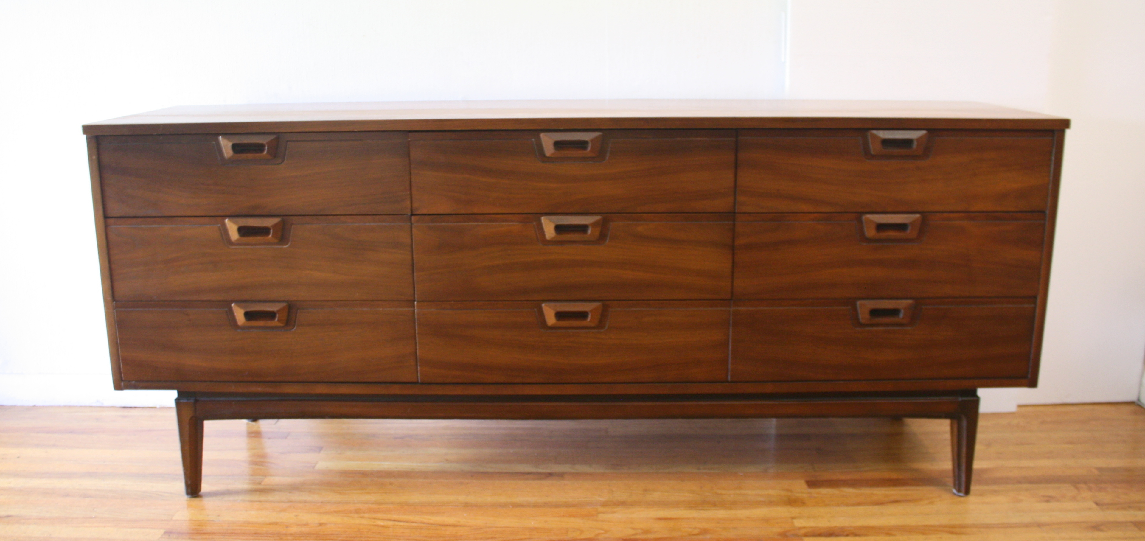 mcm low dresser credenza with carved handles 1.JPG