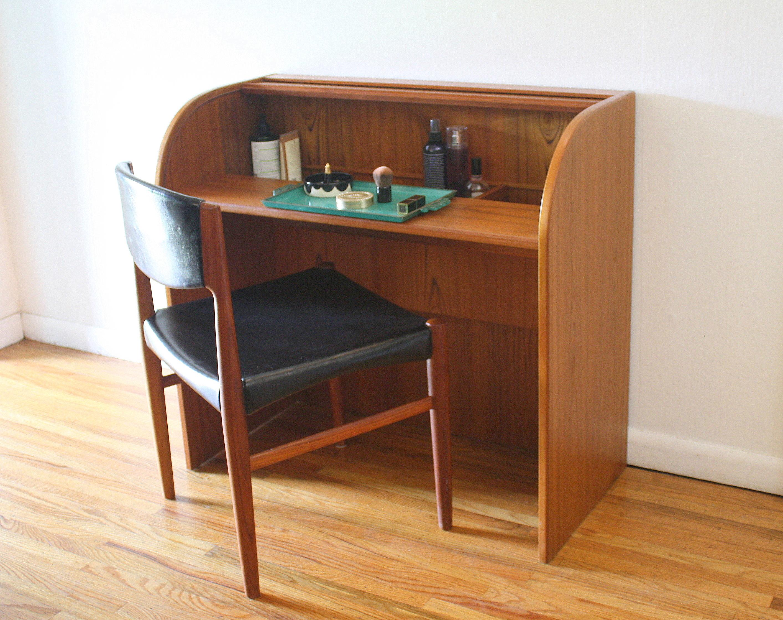 Mid Century Modern Danish Teak Desk Vanity Picked Vintage