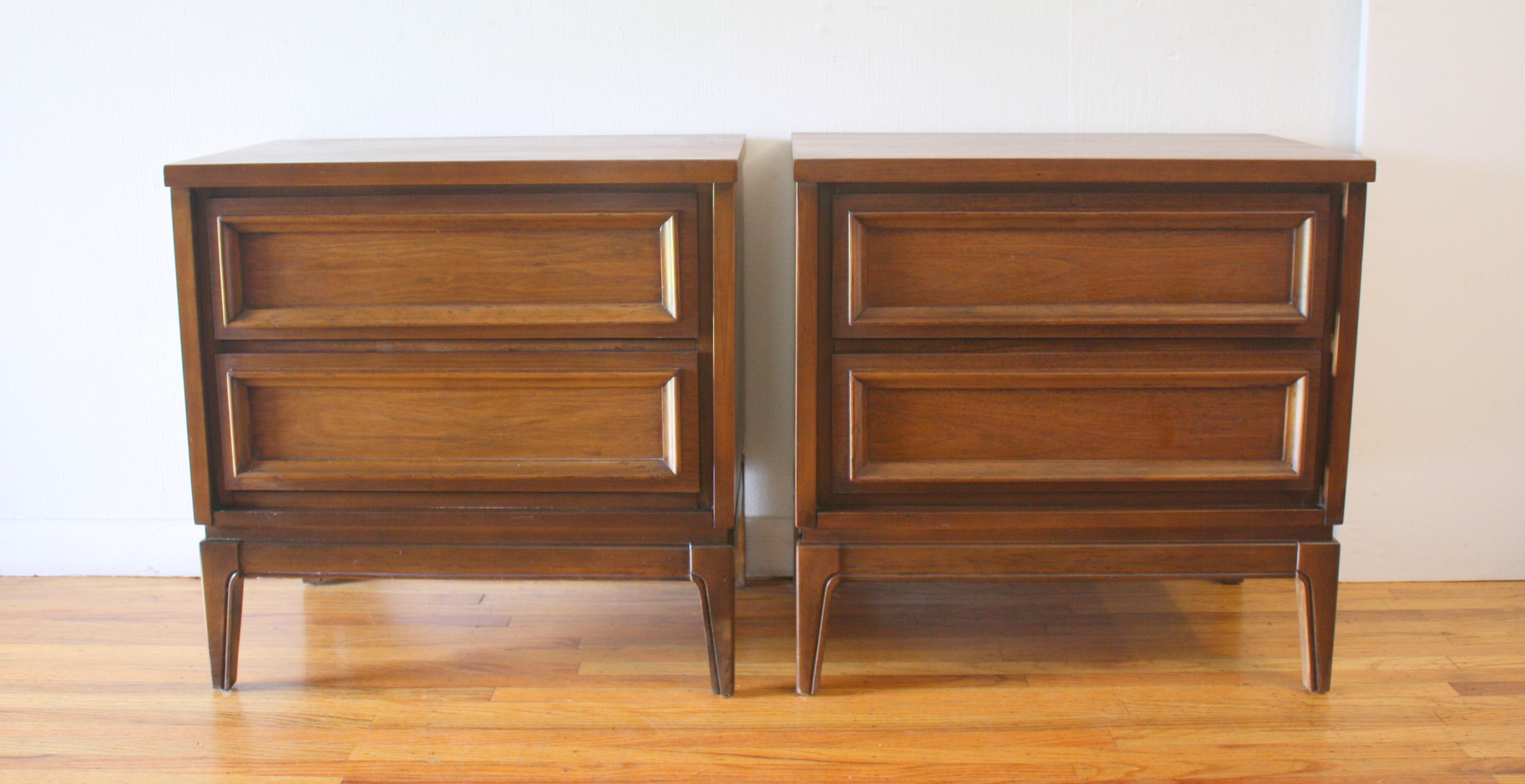 mcm pair walnut nightstands 1