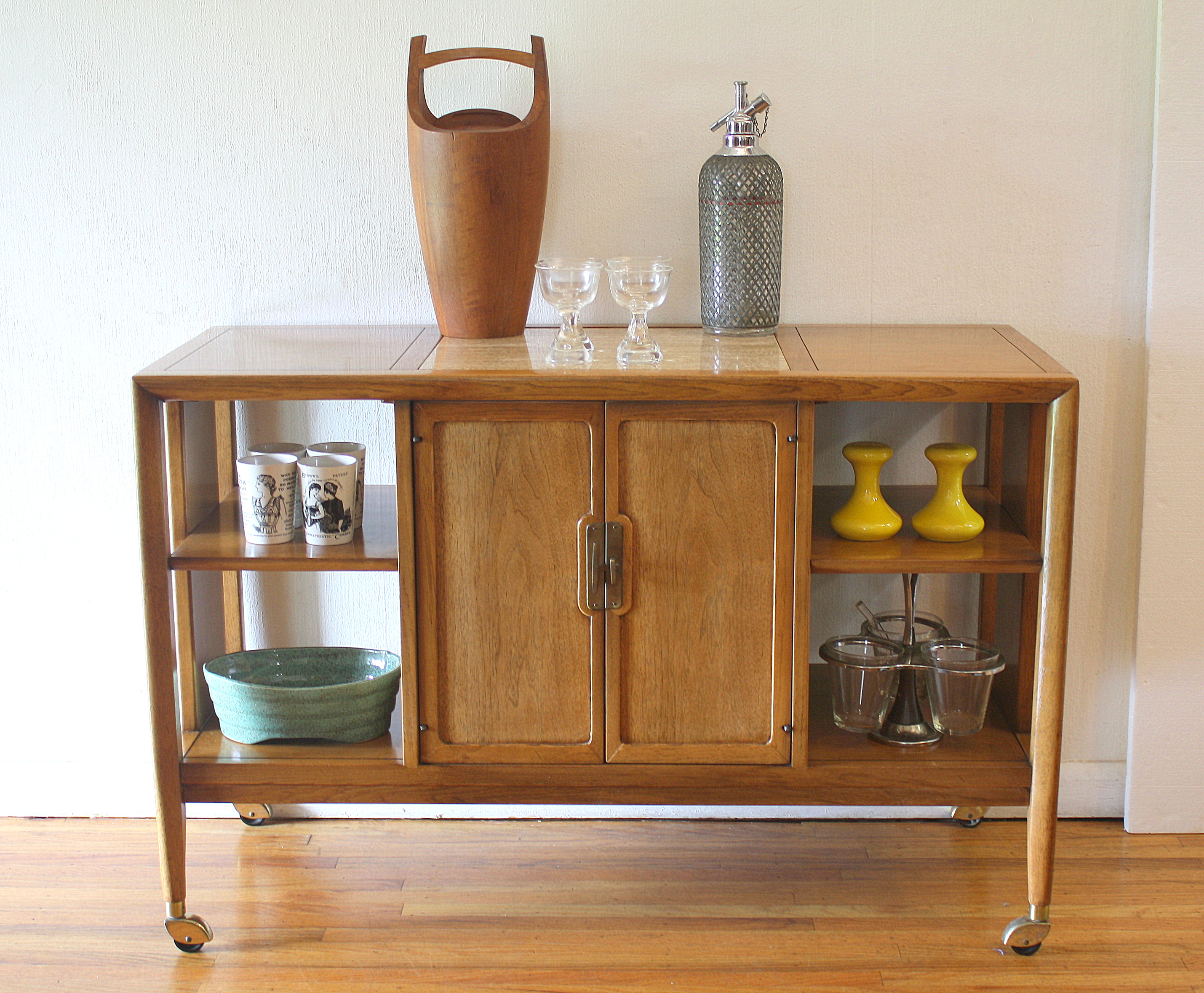 Travertine bar serving cart 1
