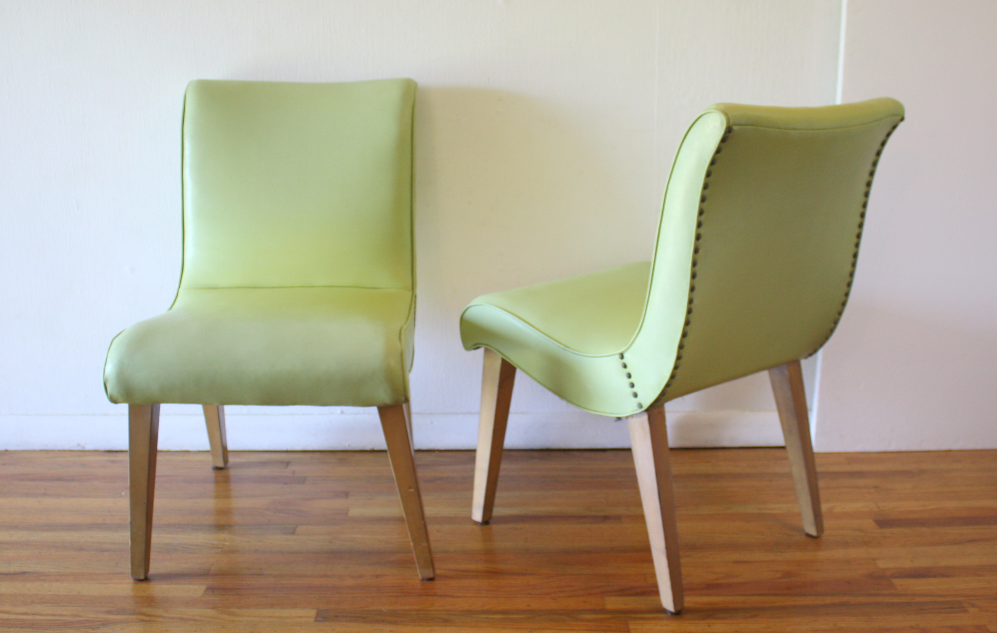 mcm pair of chartreuse green slipper chairs 2.JPG