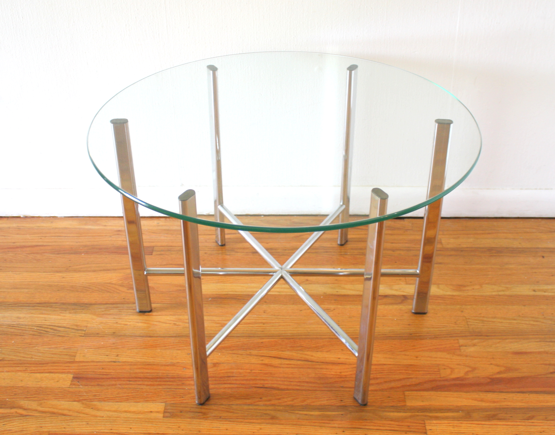 mcm chrome and glass starburst round table 1.JPG
