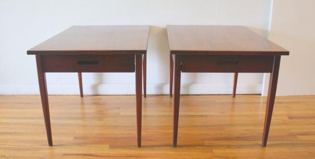mcm pair of carved handle nightstands 1