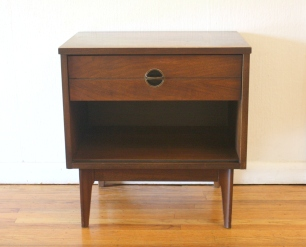 mcm side table nightstand with brass Danish style pull 1