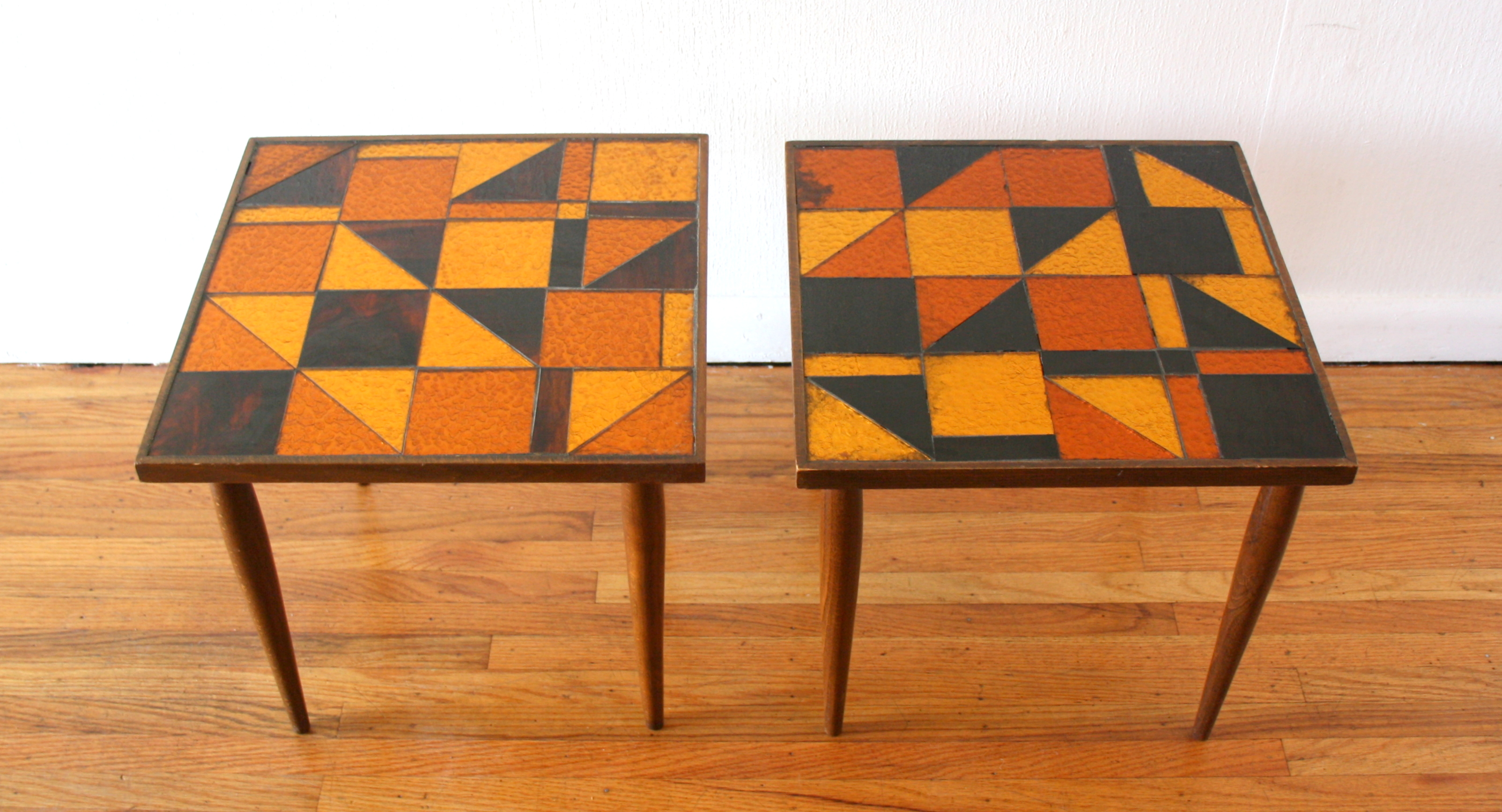 pair of glass mosaic tables 1