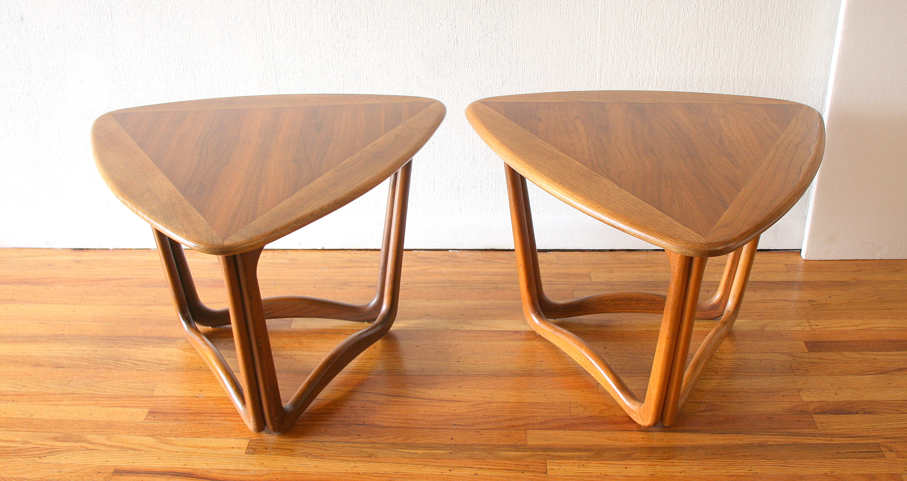 Pair of Lane triangle guitar pic side end tables 1.JPG