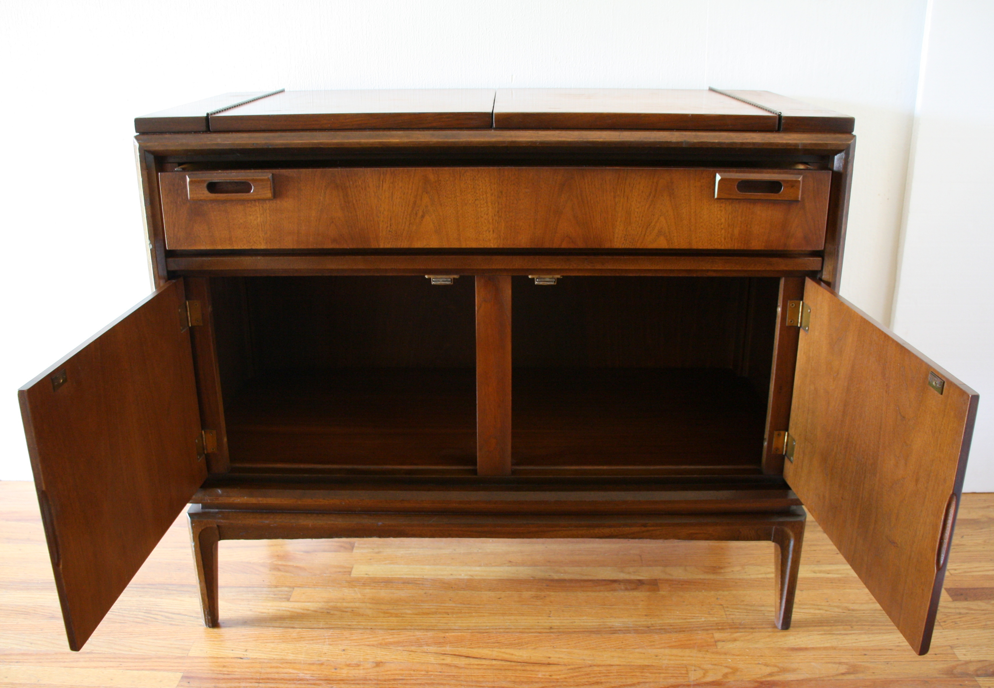 Mid Century Modern Credenza Flip Top Bar Cabinet | Picked ...