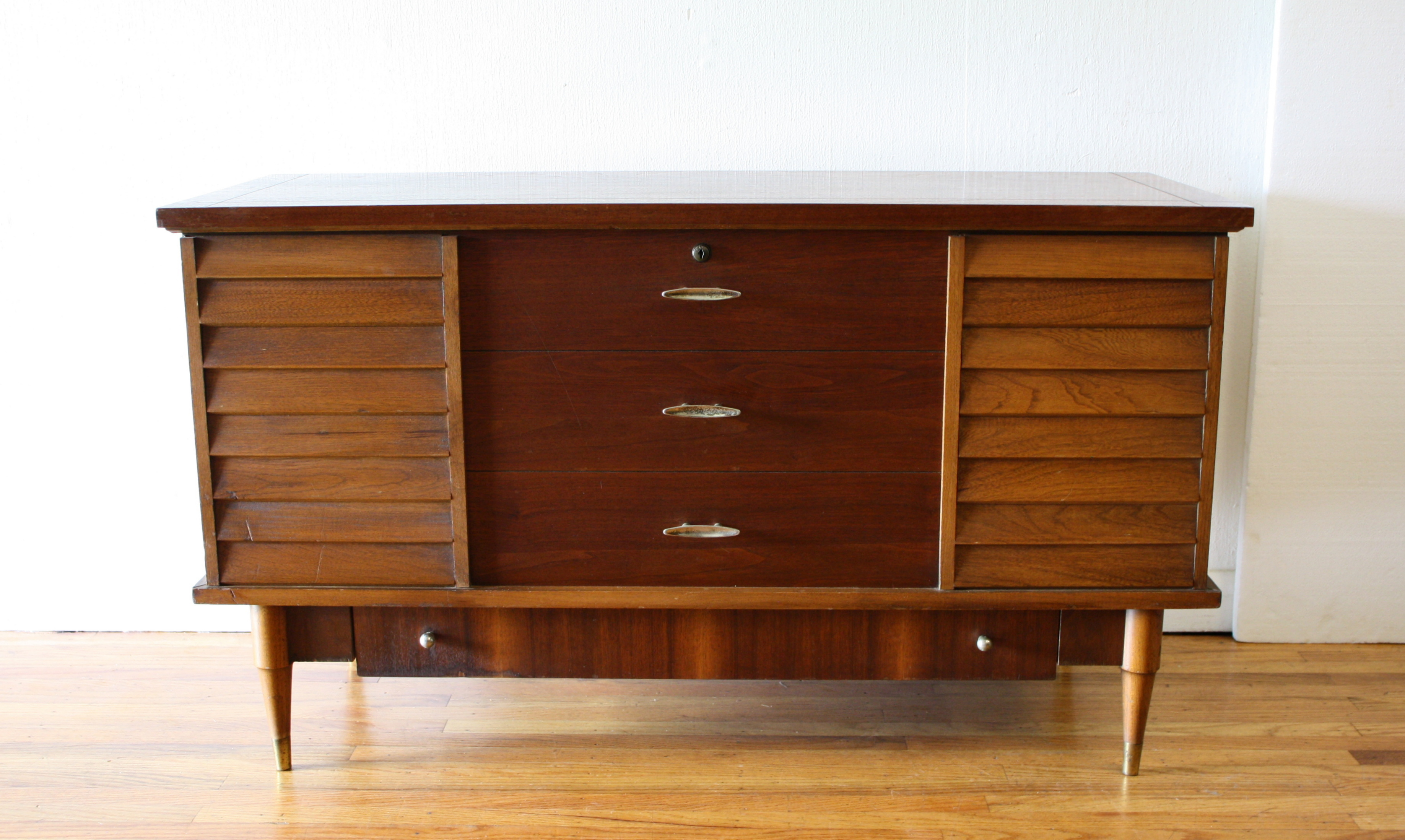 Lane cedar chest louvered design brass tipped legs 1