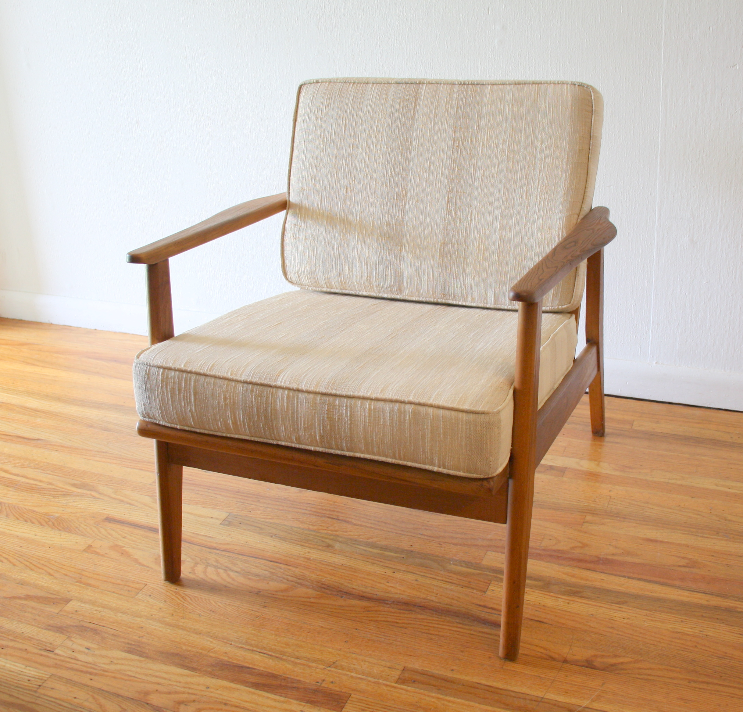 Mcm arm chair with neutral striped upholstery 2.JPG