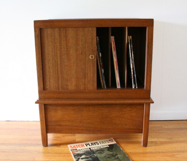 Mcm record cabinet with sliding doors 7