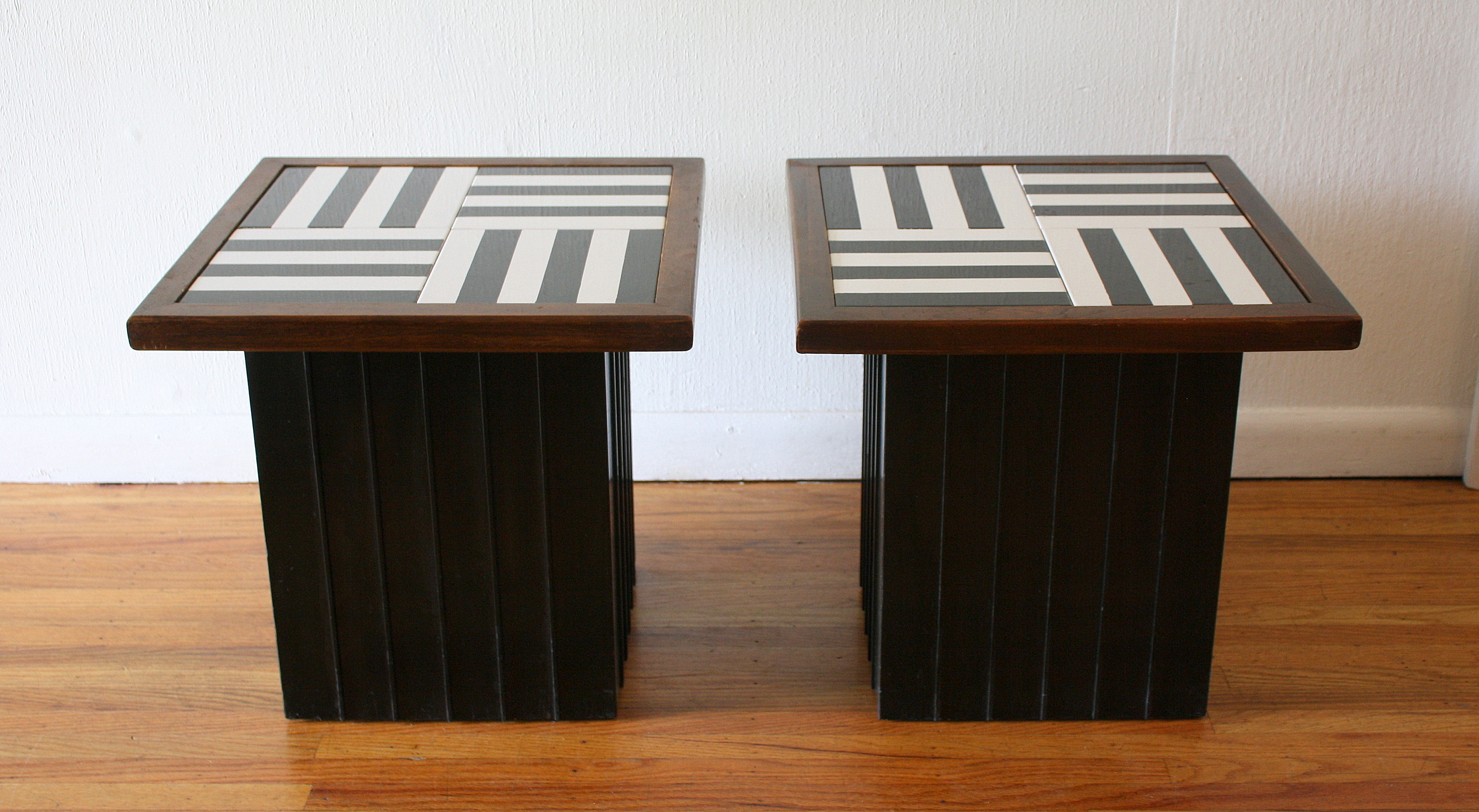 Pair of black and white mod cube tables 1