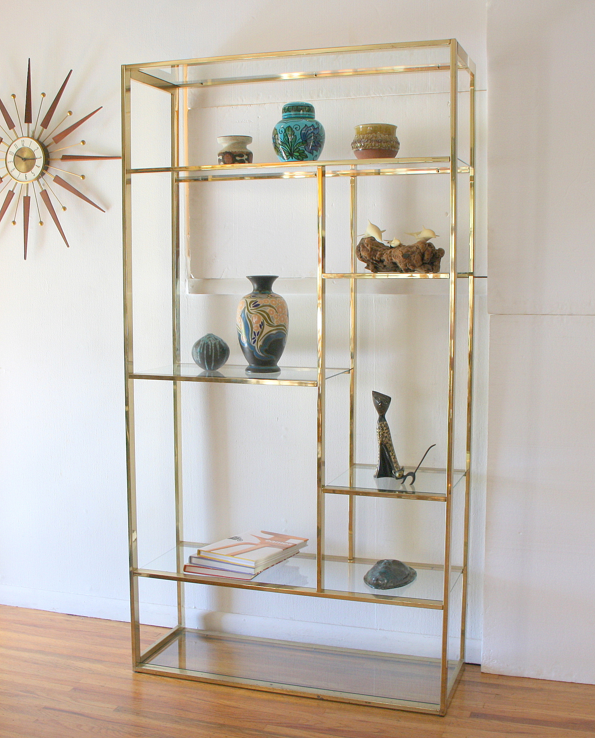 Mcm Brass and glass shelving unit 1.JPG