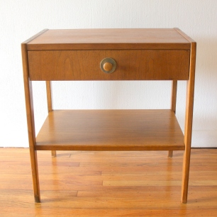Mcm nightstand with brass accented wood knob 1