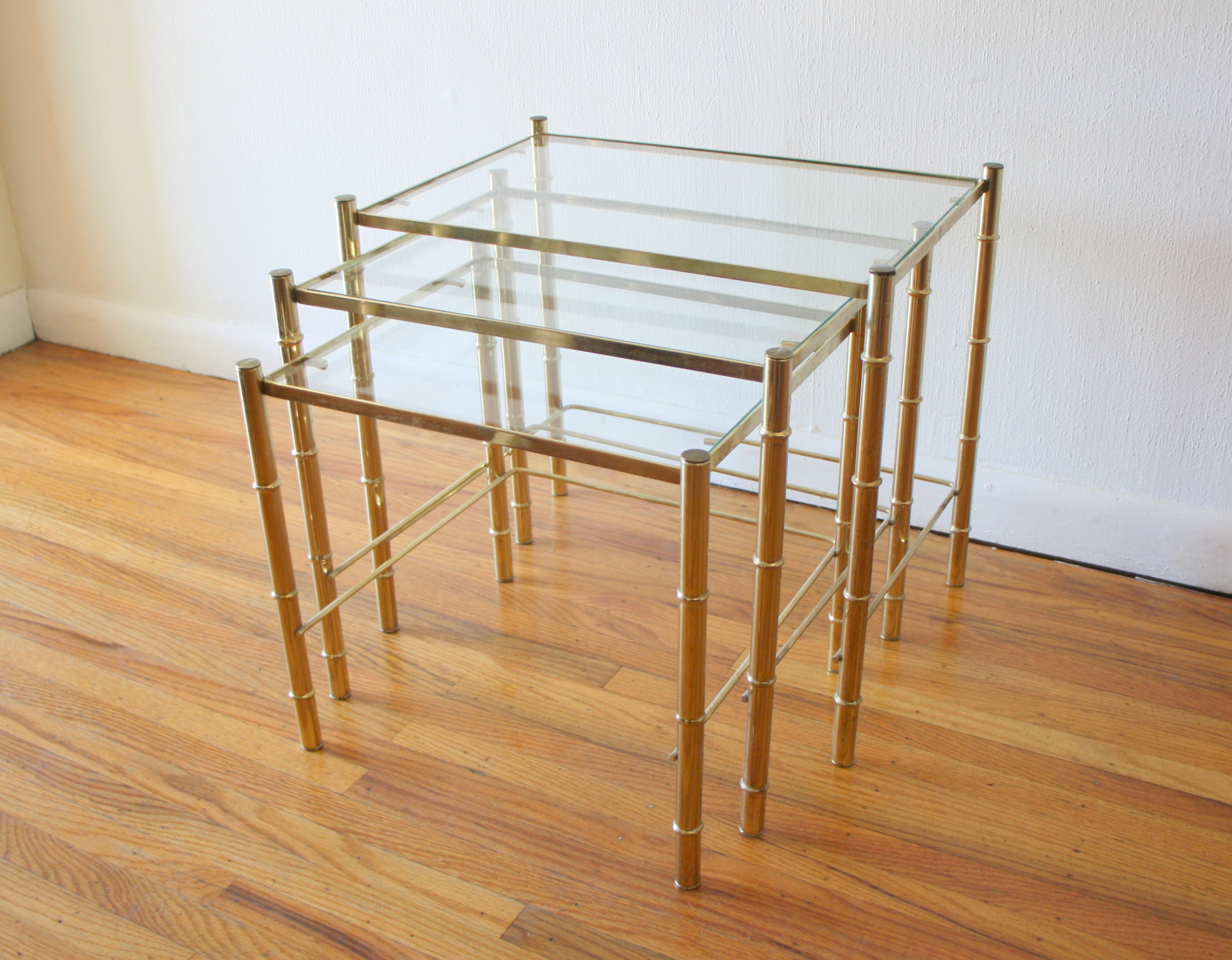 mcm trio of brass bamboo nesting tables 1