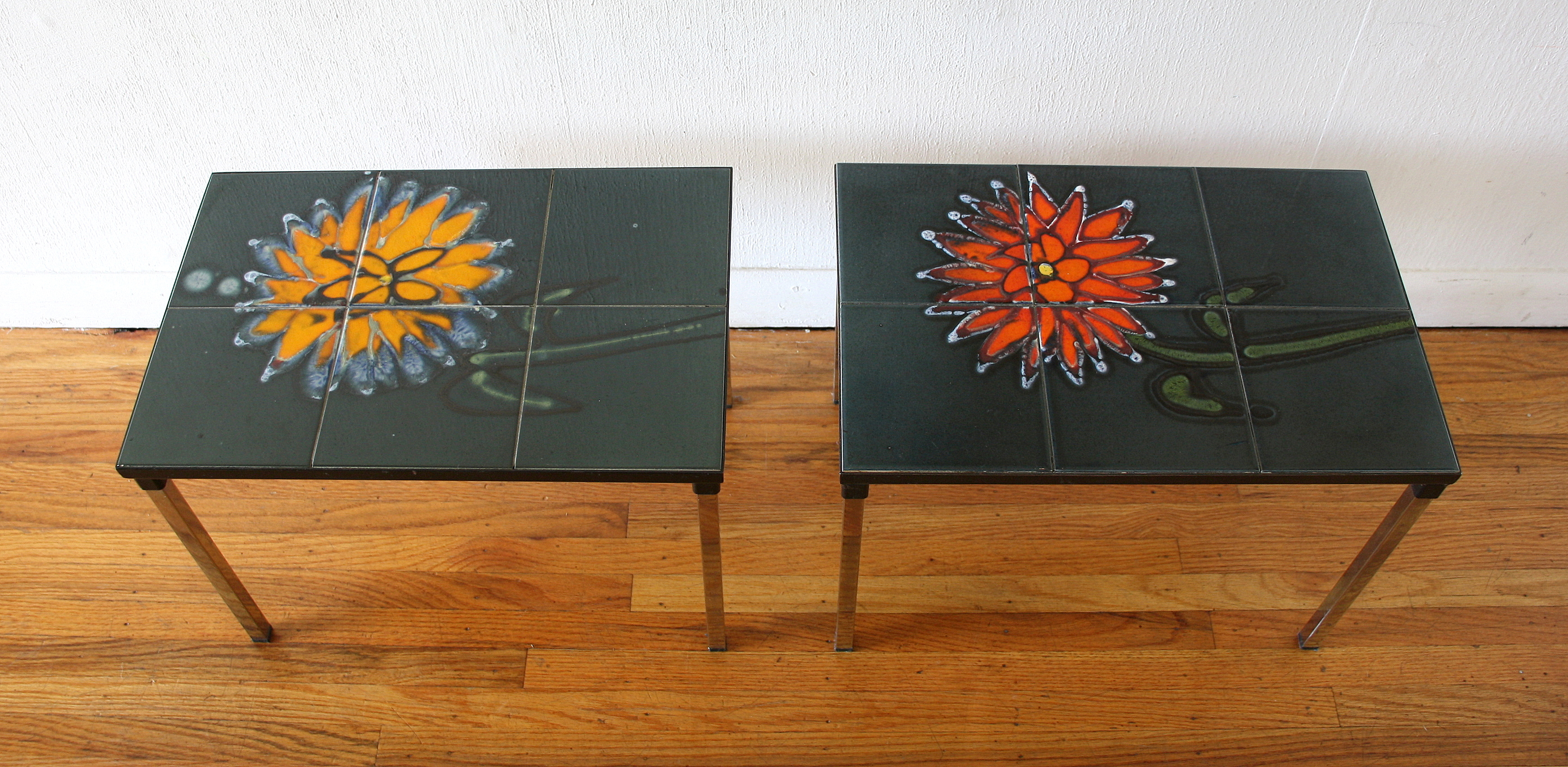 Pair of flower tile tables 1