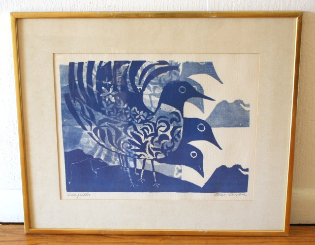 Alec Cowan Seagulls wood block print 1