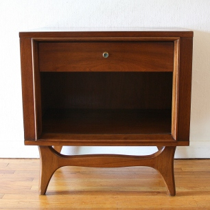 Mcm nightstand with sculpted base 1