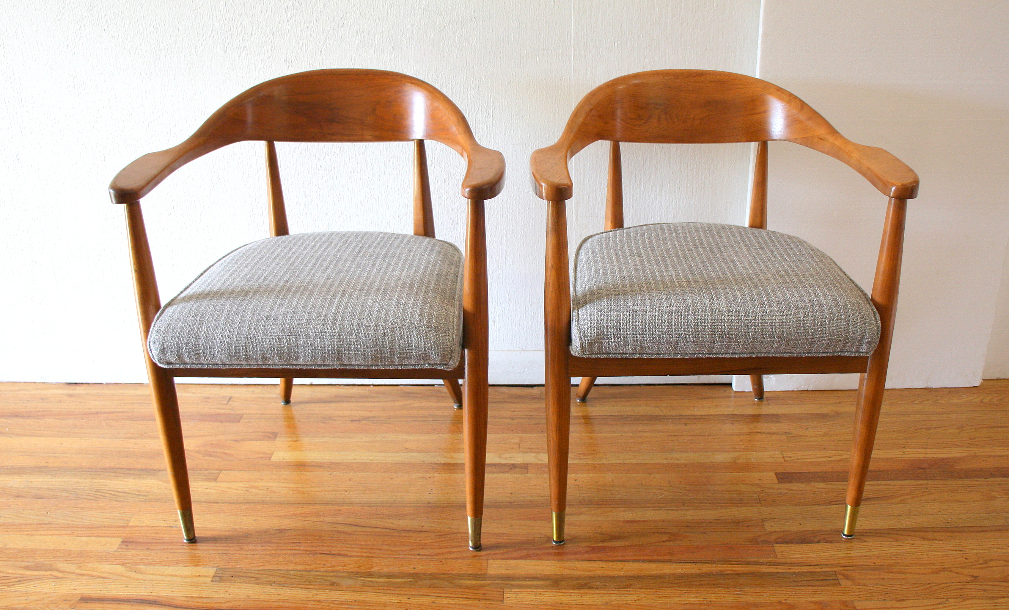 Mcm pair of arm chairs in gray tweed 1