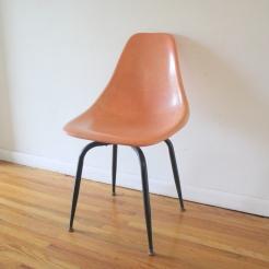 mcm pink fiberglass shell chair 1