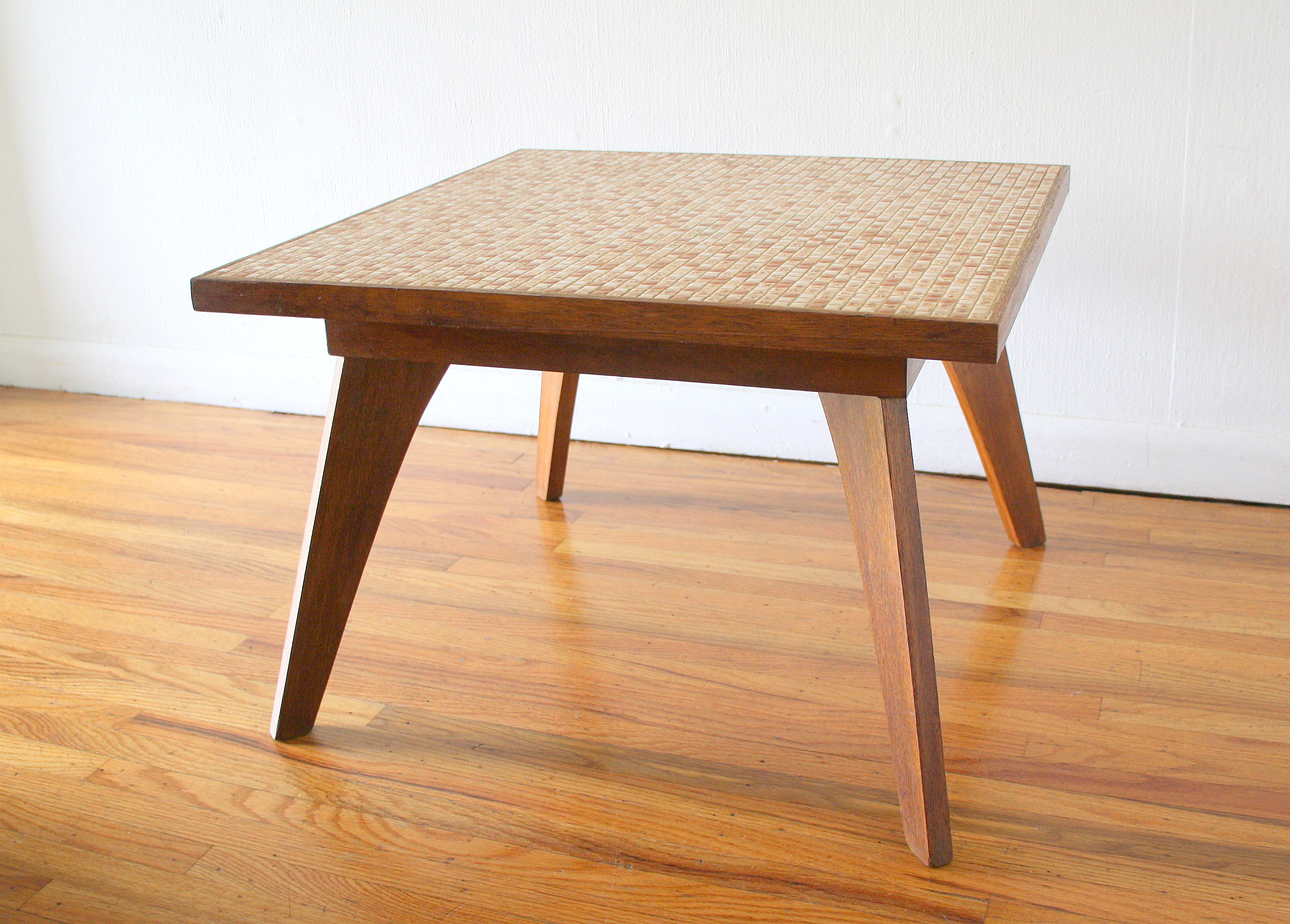 Mcm square tile table with splayed legs 1