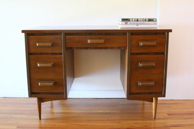 Mcm desk with faux rosewood accents 1
