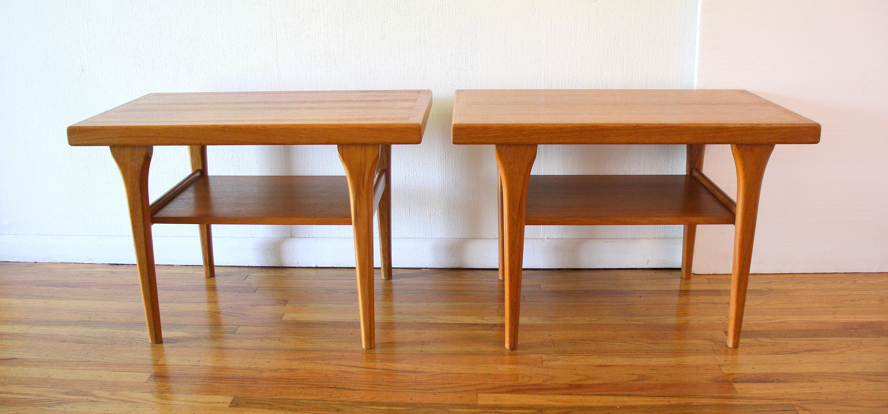 pair of Danish teak side end tables 1