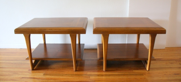 Pair of Lane parquet side end tables 1